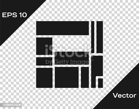 istock Black House Edificio Mirador icon isolated on transparent background. Mirador social housing by MVRDV architects in Madrid, Spain. Vector 1269487508
