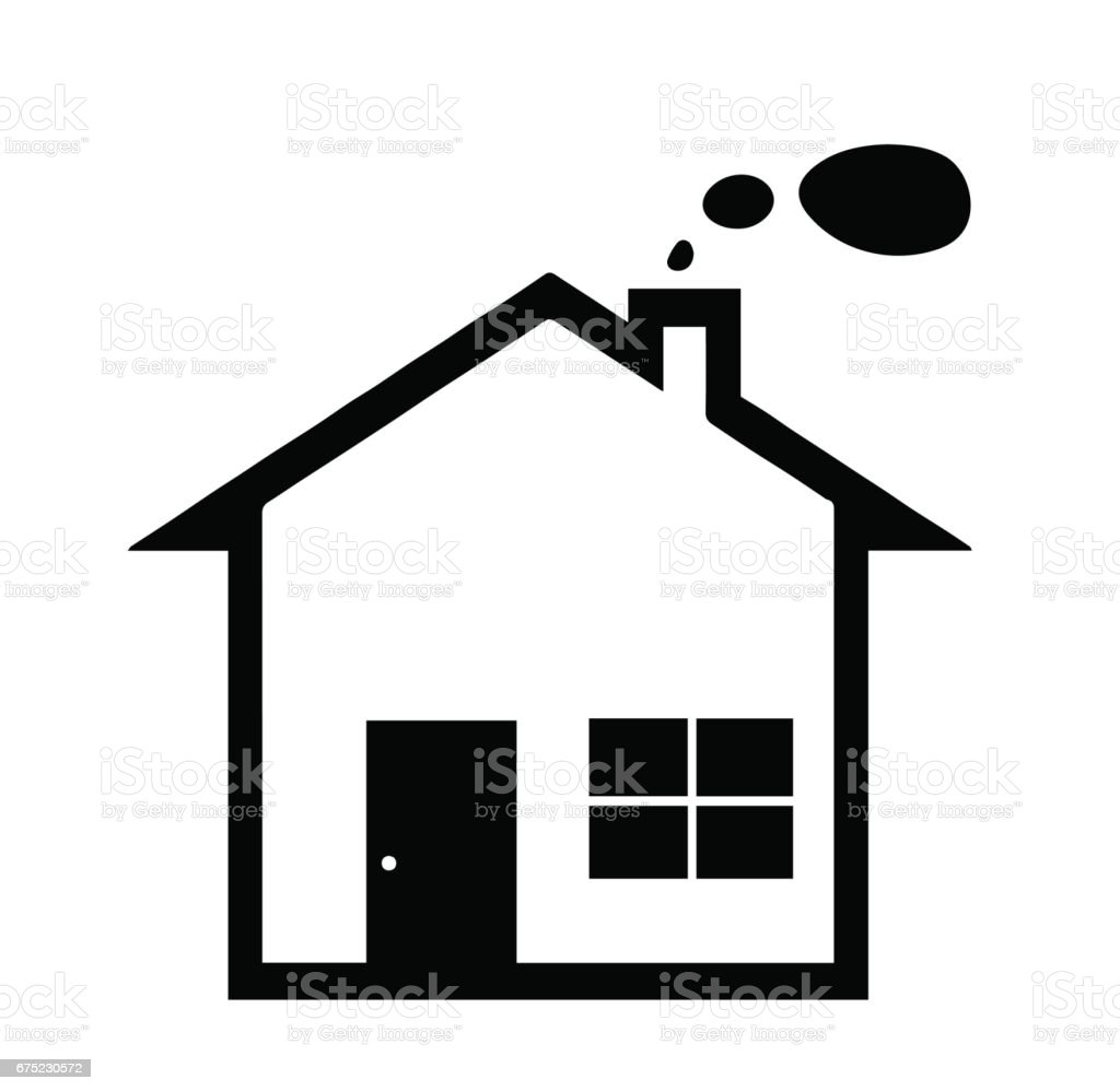 black house silhouette vector with smoke from chimney stock vector rh istockphoto com house silhouette vector free house silhouette vector free