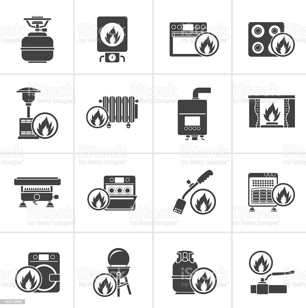 Black Household Gas Appliances icons vector art illustration