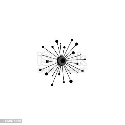 black hub network connection line icon isolated on white. Tech or technology logo. Server or central database button. System links symbol. Molecule shape.