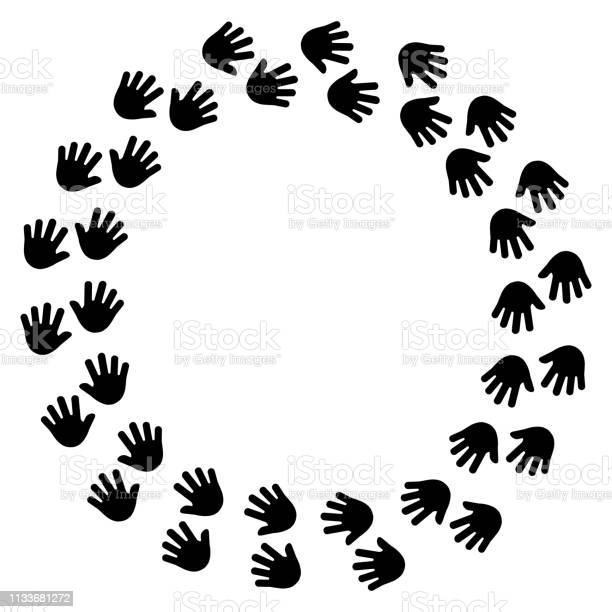 Black human handprint round frame vector illustration vector id1133681272?b=1&k=6&m=1133681272&s=612x612&h=54k0fd1w5cnnfbdelhegckzsy3i73idfl uimrgflwc=