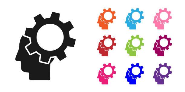 bildbanksillustrationer, clip art samt tecknat material och ikoner med black human huvud med redskap inuti ikonen isolerad på vit bakgrund. artificiell intelligens. tänker hjärna. symbol arbete hjärnan. ställ in ikoner färgglada. vektor illustration - endast en man