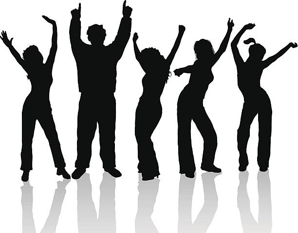 5 black human shadow figures dancing with raised arms People dancing. five people stock illustrations