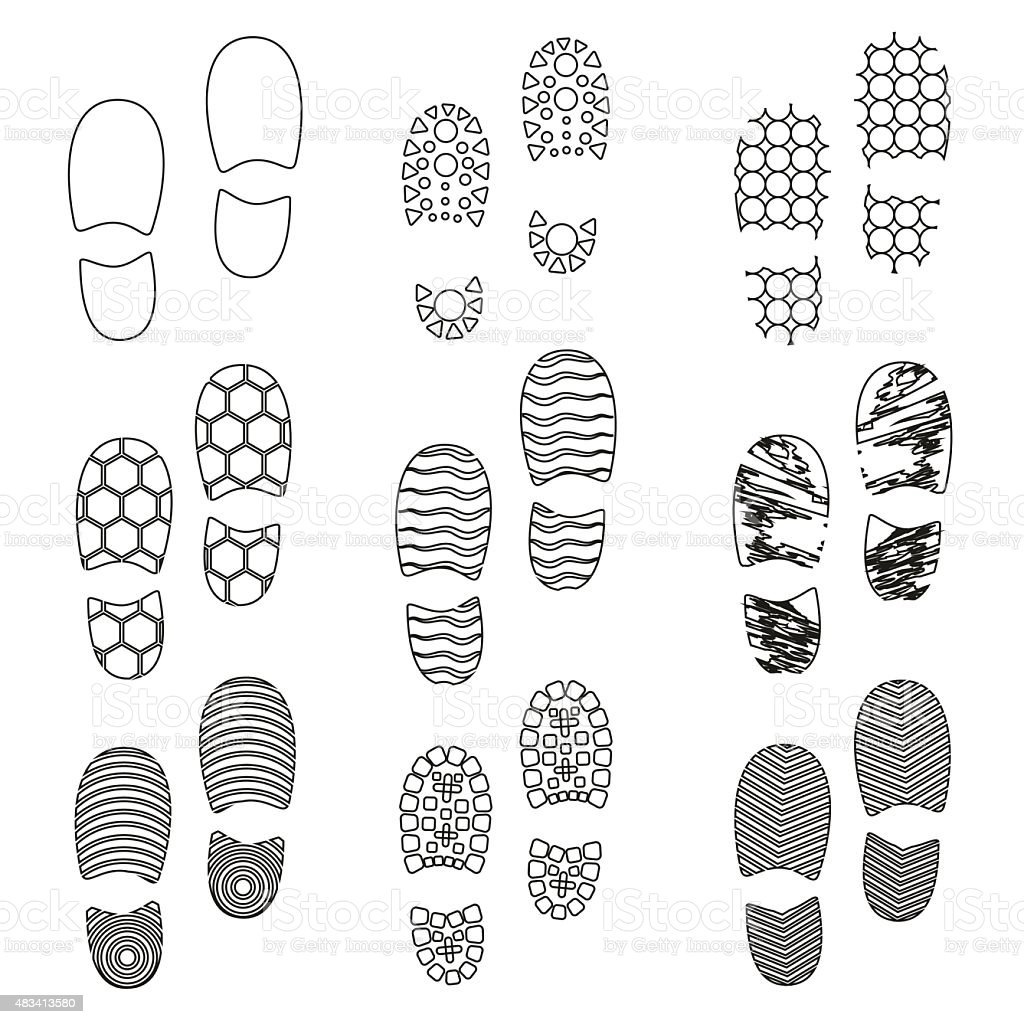 black human shoes footprint various sole outline icons eps10 vector art illustration