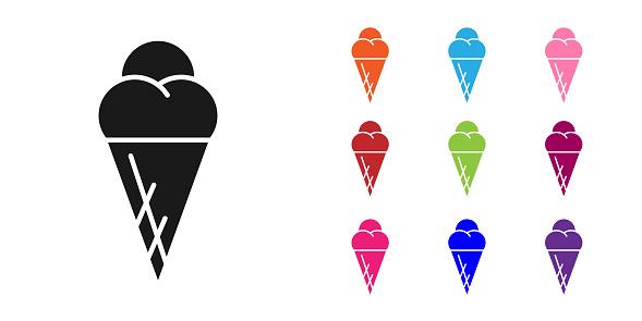 Black Ice cream in waffle cone icon isolated on white background. Sweet symbol. Set icons colorful. Vector Illustration