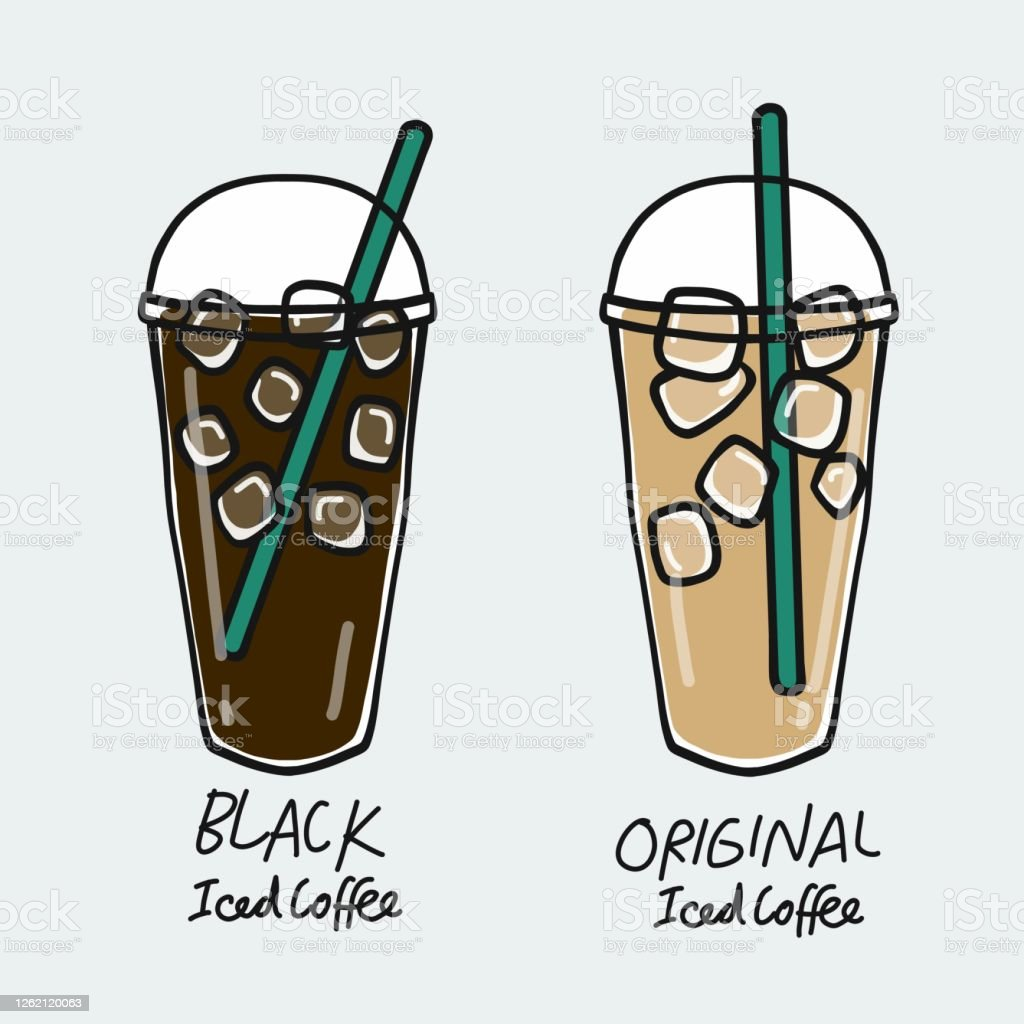 Black Iced Coffee Cup And Original Iced Coffee Cup Cartoon Vector Illustration Stock Illustration Download Image Now Istock
