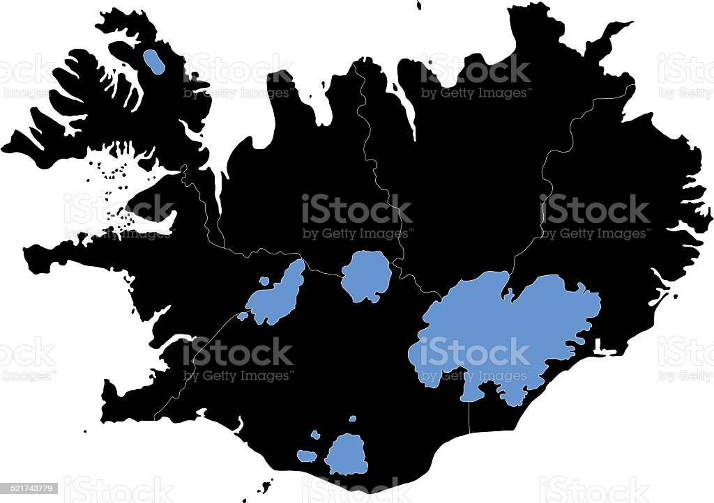 Black Iceland Map Stock Vector Art & More Images of Cut Out ...