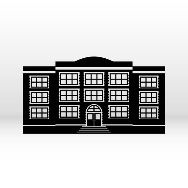 schwarze symbol gebäude. vektor. - grundschule stock-grafiken, -clipart, -cartoons und -symbole