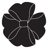 black icon christmas bow cartoon