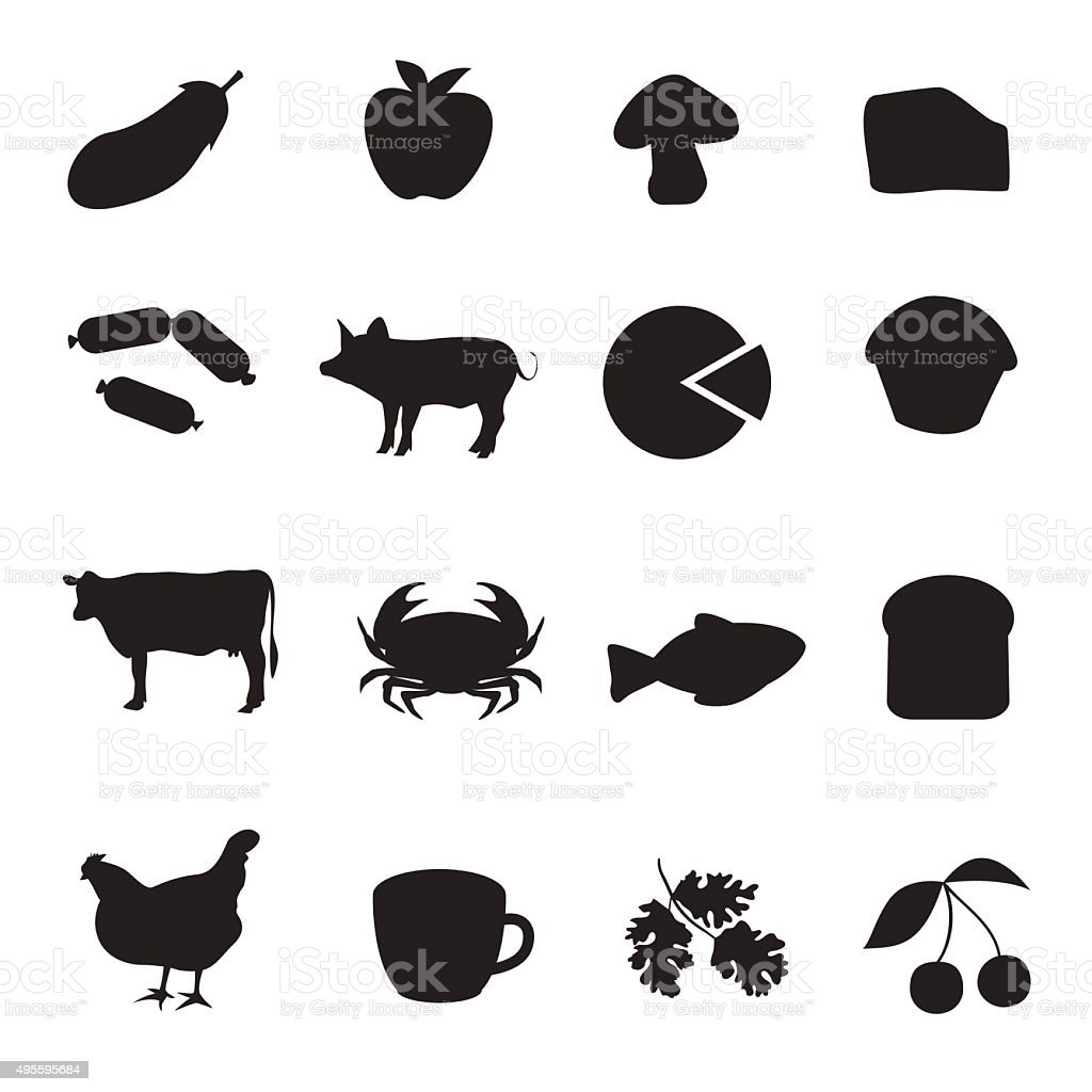 Black icon collection of different type of food vector art illustration