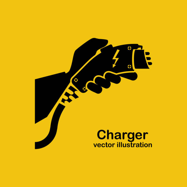 Black icon electric car charger vector Black icon electric car charger. Power supply connect to electric auto. Charge to battery. Vector illustration flat design. Connector for electric refueling. Plug and socket. Green energy. electric vehicle stock illustrations