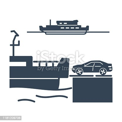 black icon ferry, car, transportation
