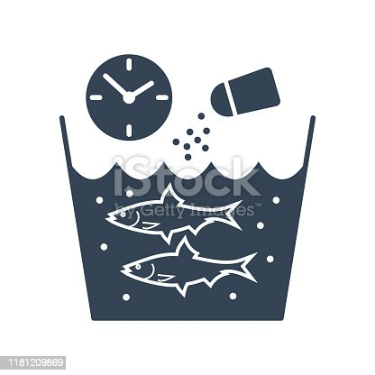 black icon fish processing, salting fish