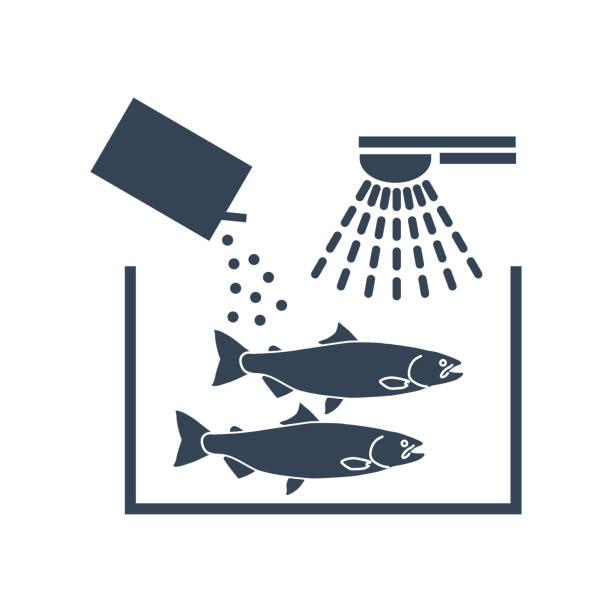 ilustrações de stock, clip art, desenhos animados e ícones de black icon fish processing, washing and cleaning fish - aquacultura