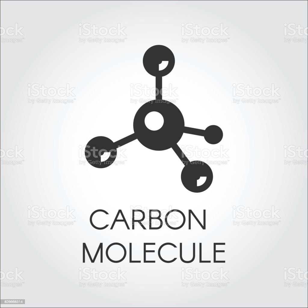 Black icon in flat style of carbon molecules. Organic compound, chemical element. Web logo. Vector graphic label vector art illustration
