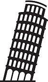 black icon Leaning Tower of Pisa cartoon vector graphic design