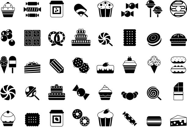 Black icon of sweets. Candies chocolate biscuits pie ice cream and pancakes monochrome vector silhouettes Black icon of sweets. Candies chocolate biscuits pie ice cream and pancakes monochrome vector silhouettes. Illustration of chocolate cake and biscuit, candy and pie candy icons stock illustrations