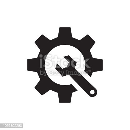 SEO - black icon on white background vector illustration for website, mobile application, presentation, infographic. Gear with wrench concept sign. Setup setting symbol. Graphic design element.