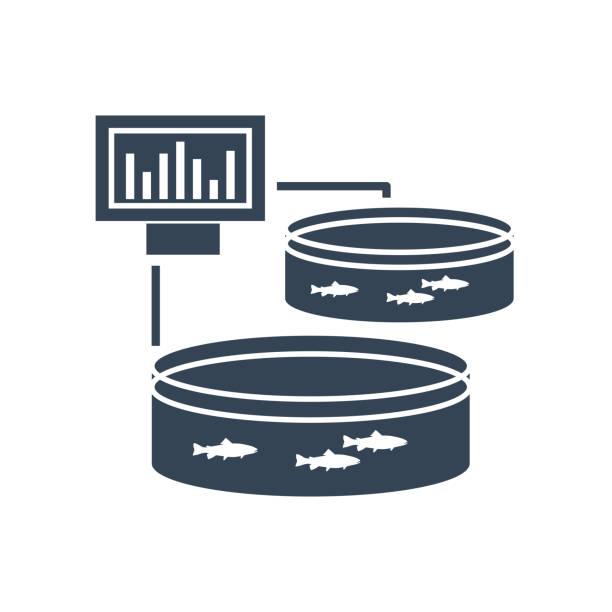 ilustrações de stock, clip art, desenhos animados e ícones de black icon pool for breeding fish, fish farming - aquacultura