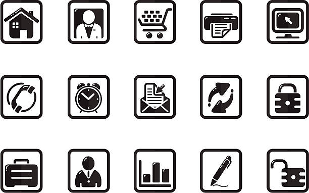 black icon squares | quadro series - byteandpixel stock illustrations