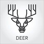 Black icon style line art, head wild animal deer.