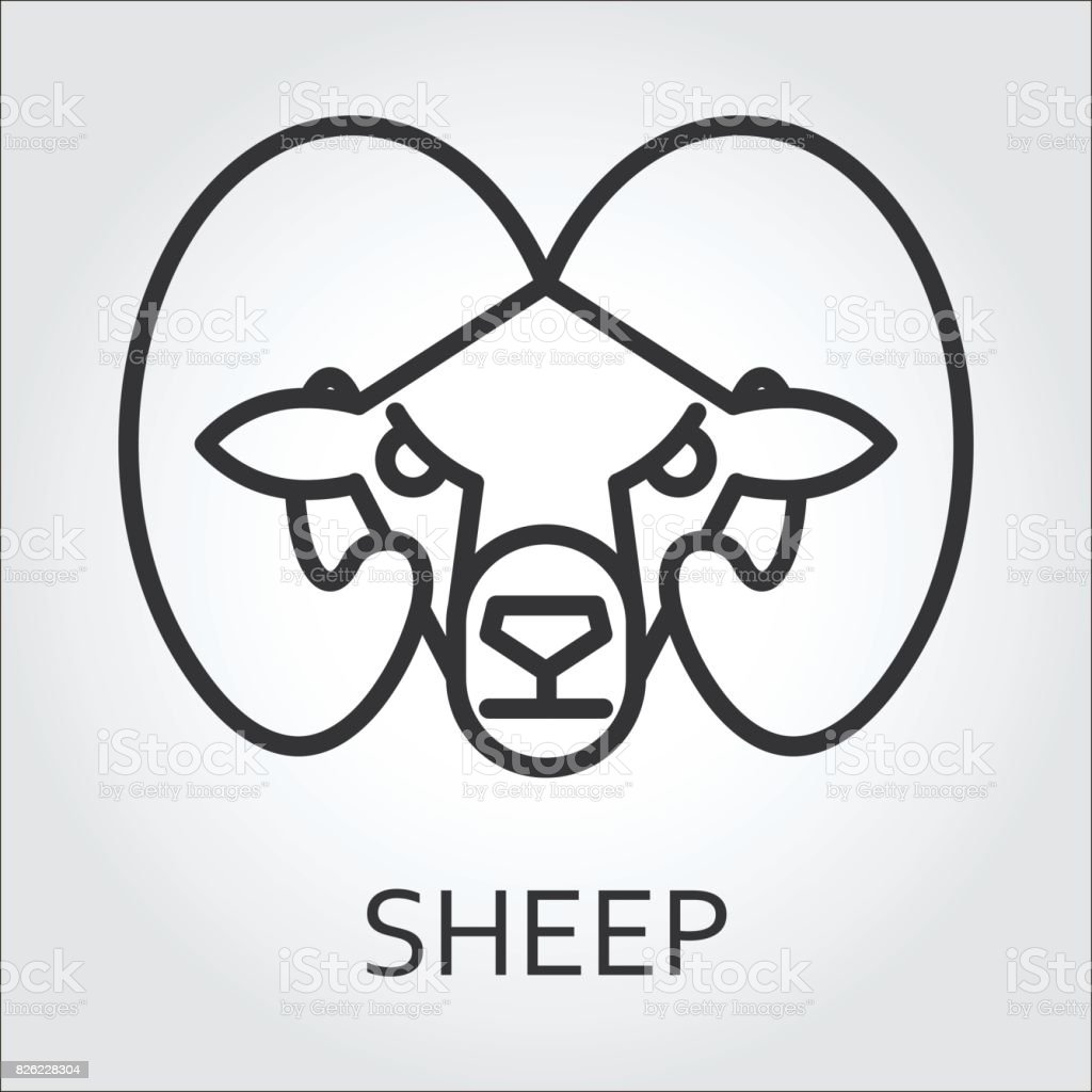 Black icon style line art, head wild animal sheep, ram. vector art illustration