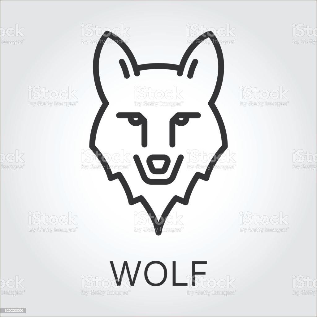 Dessin au trait noir ic ne style t te loup danimaux - Tete de loup dessin ...
