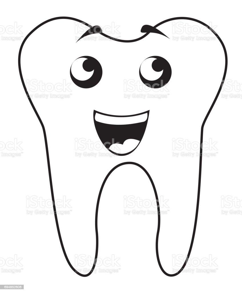 Schwarze Symbol Zahn Cartoon Stock Vektor Art und mehr Bilder von ...