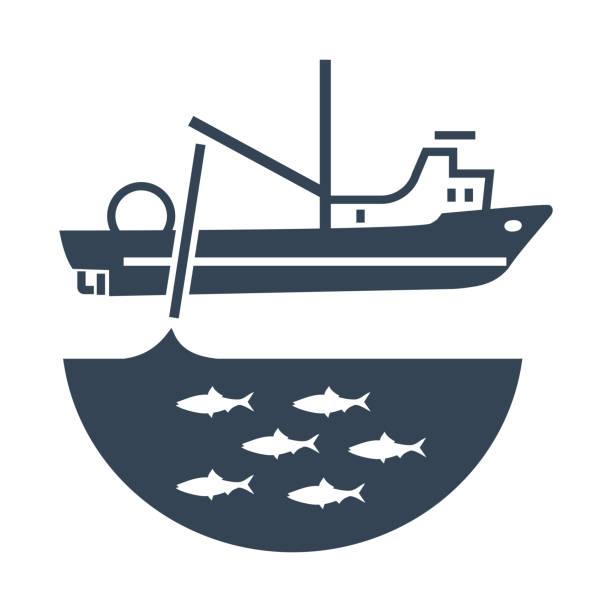 ilustrações de stock, clip art, desenhos animados e ícones de black icon trawler, seiner ship, fishing net - aquacultura