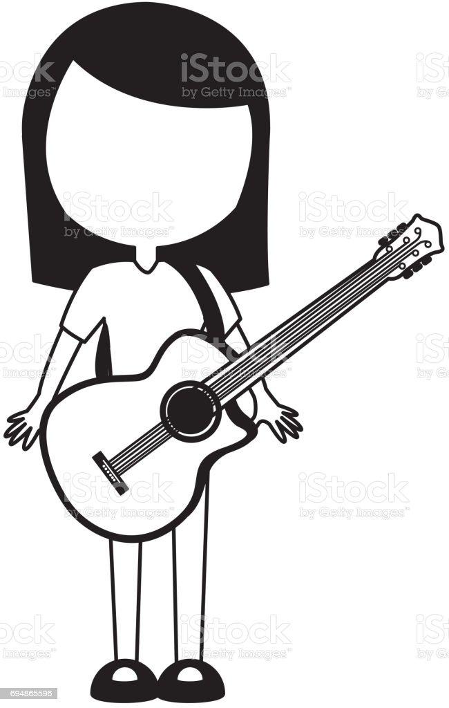 Black Icon Women Guitar Cartoon Stock Illustration Download Image Now Istock