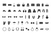 Black icons accessories: bags, hats, jewelry, glasses