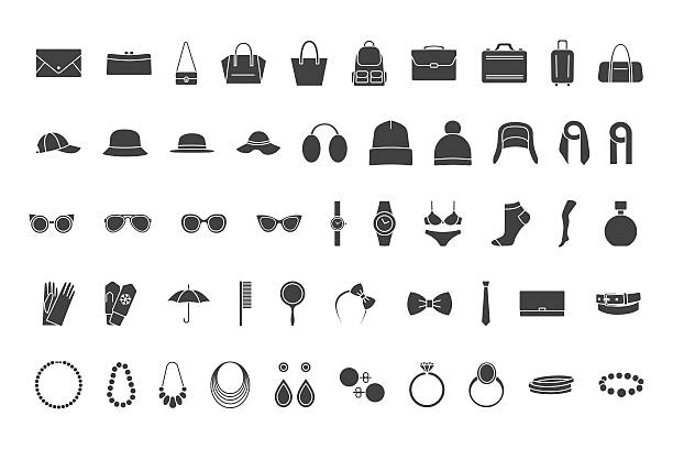 illustrazioni stock, clip art, cartoni animati e icone di tendenza di black icons accessories: bags, hats, jewelry, glasses - borsetta