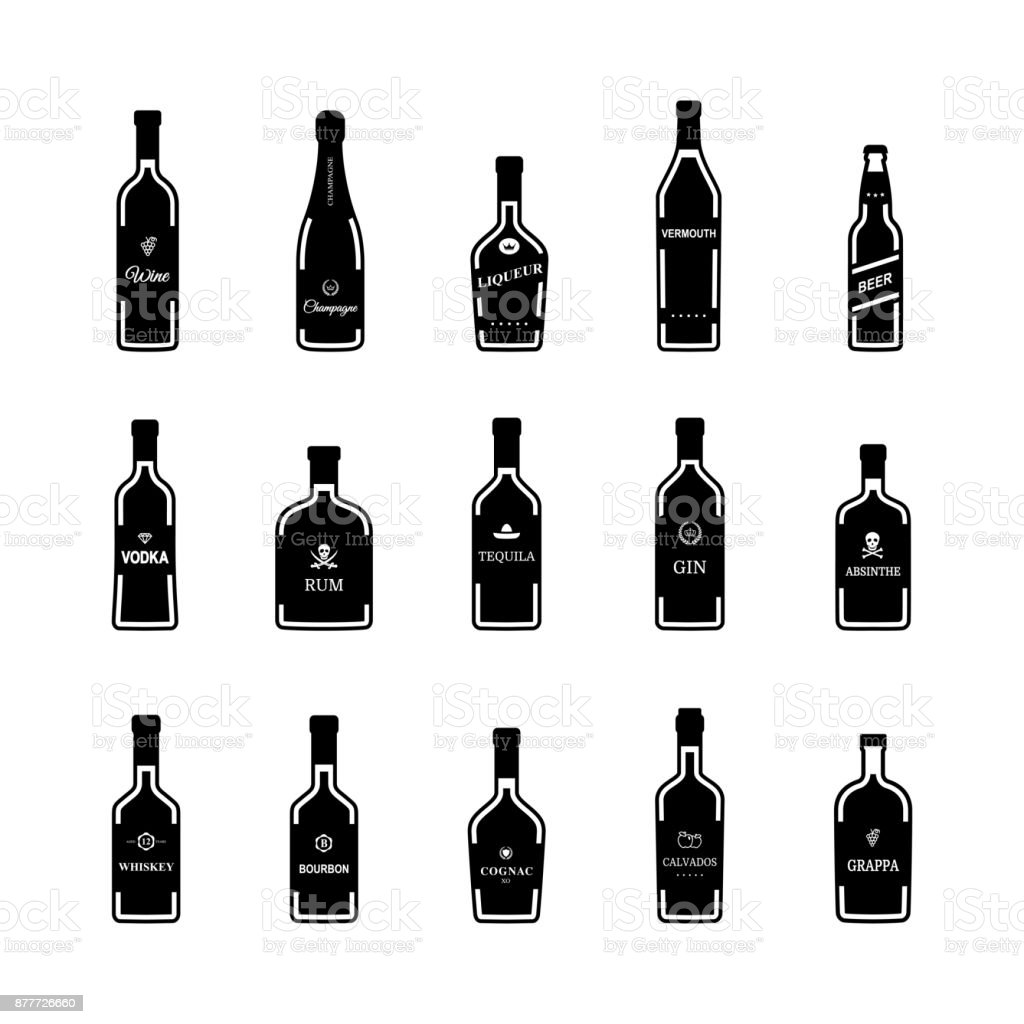 Black icons alcohol bottles on white background. Vector vector art illustration