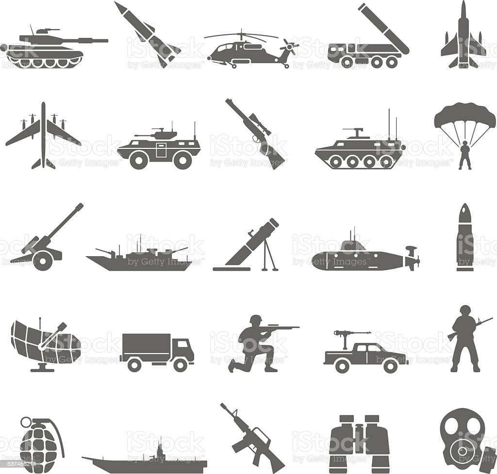 Black Icons - Army vector art illustration