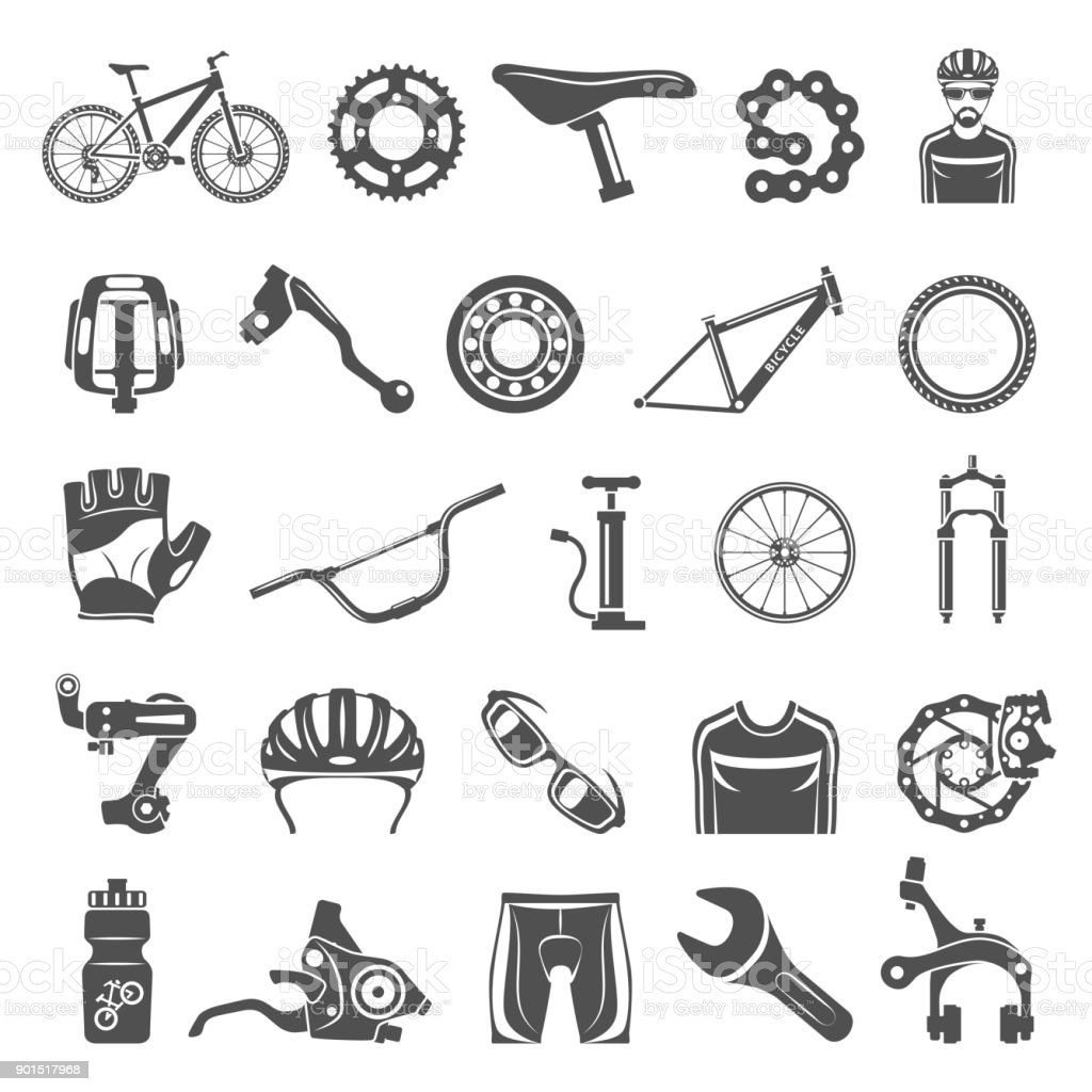 Black Icons - Bicycle Parts vector art illustration