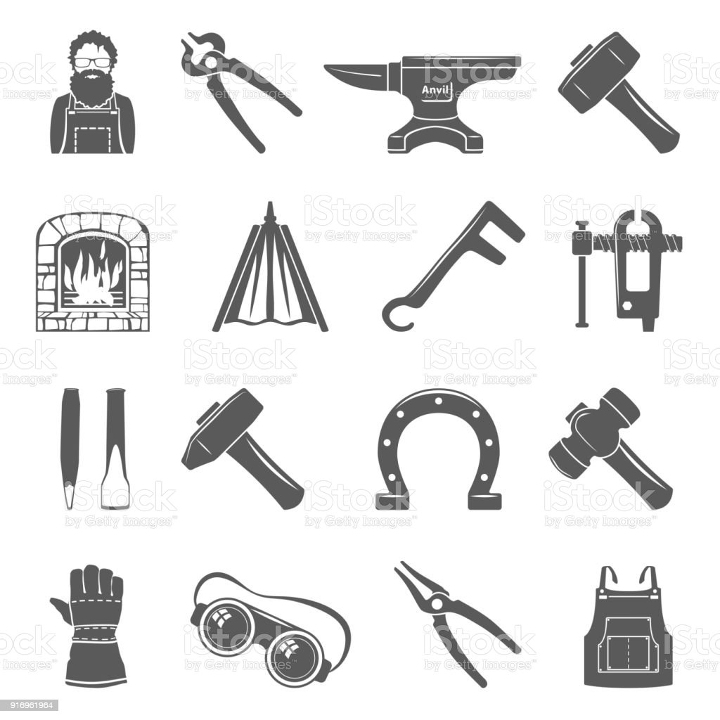 Black Icons - Blacksmith Tools vector art illustration