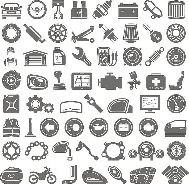 Black Icons - Car and Motorcycle Parts Car and motorcycle parts and equipment vehicle part stock illustrations