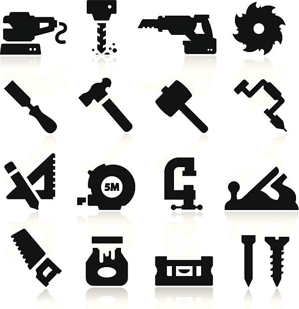 bildbanksillustrationer, clip art samt tecknat material och ikoner med 16 black icons depicting tools - cravings
