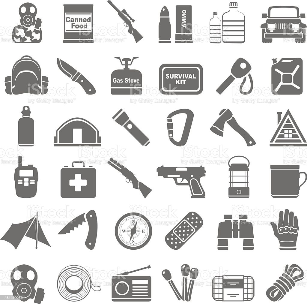 Black Icons - Doomsday Preppers vector art illustration