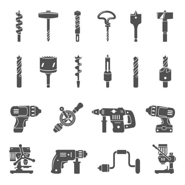 Black Icons - Drills and Drill Bits Different types of drills and drill bits drill stock illustrations