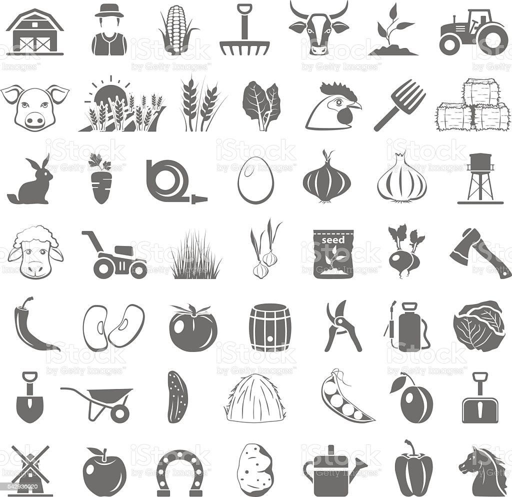 Black Icons - Farm vector art illustration