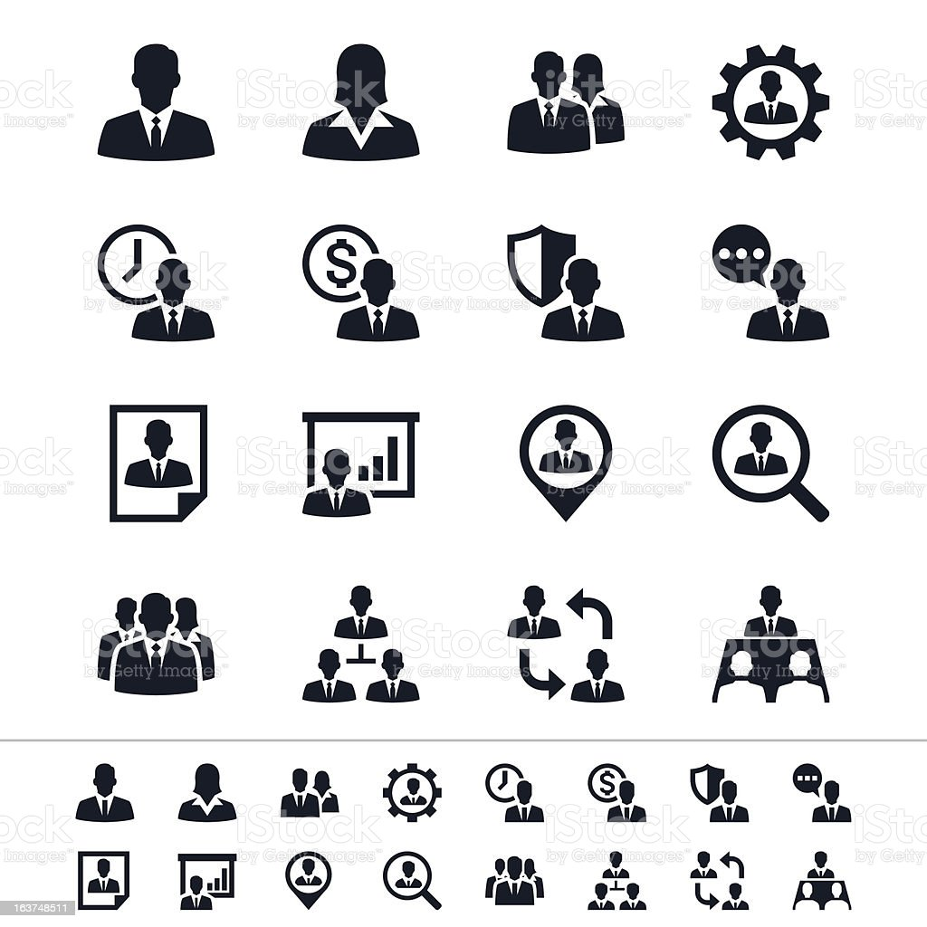 Black icons for human resource management vector art illustration