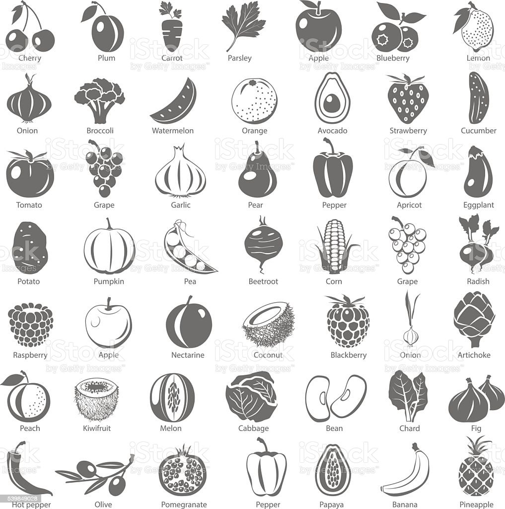 Black Icons - Fruits and Vegetables vector art illustration