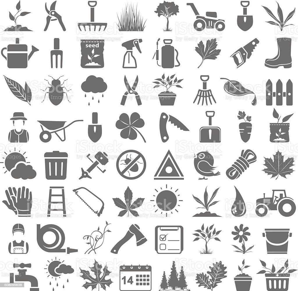 Iconos de jardinería negro - ilustración de arte vectorial