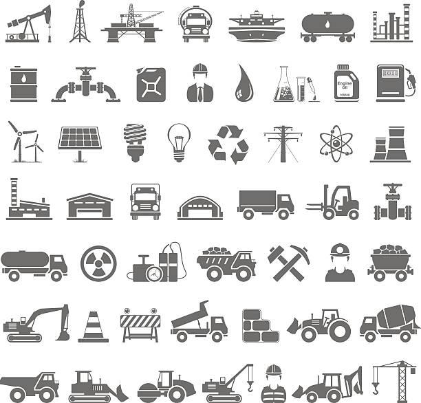 bildbanksillustrationer, clip art samt tecknat material och ikoner med black icons - industry, energy, construction - mining