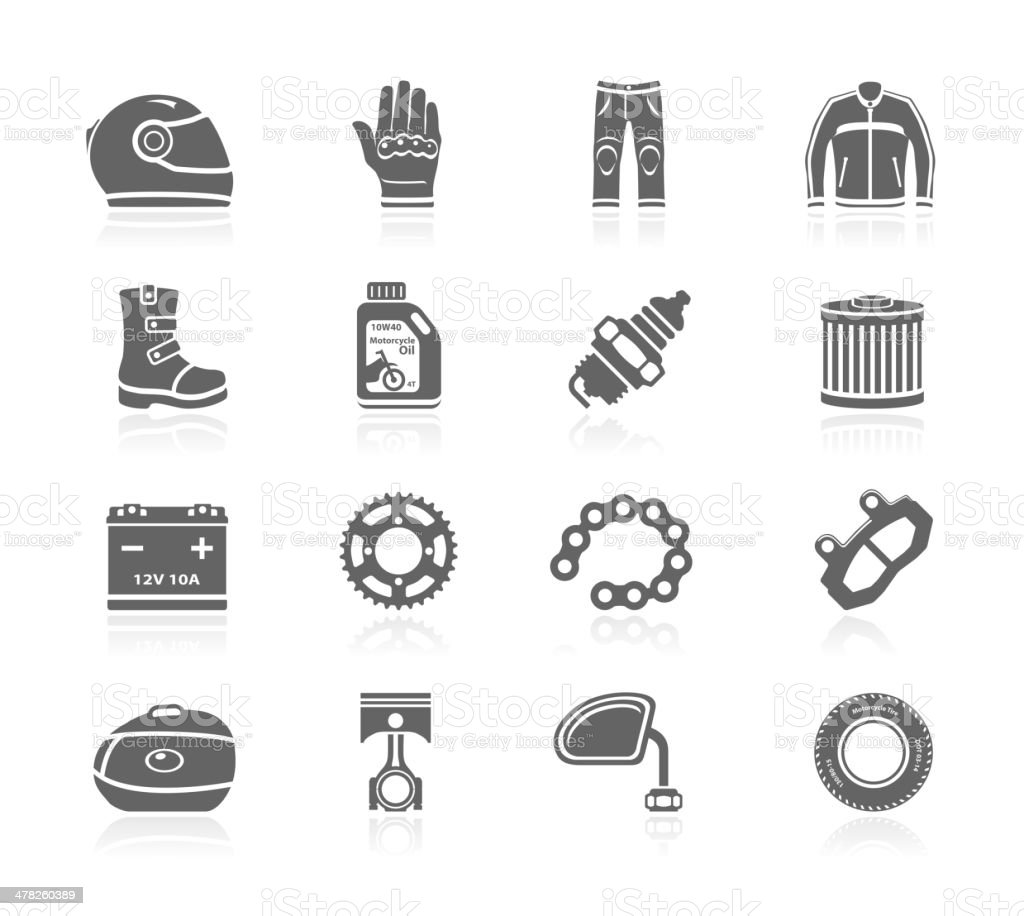 Black Icons - Motorcycle Accessories royalty-free black icons motorcycle accessories stock vector art & more images of battery