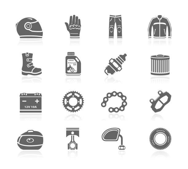 schwarze symbole-motorrad-accessoires - funktionsjacke stock-grafiken, -clipart, -cartoons und -symbole