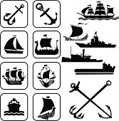 Black icons of ships and anchors