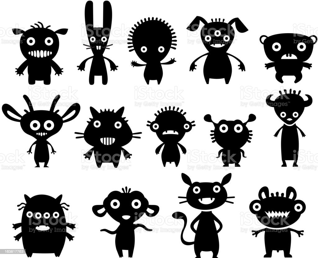 Black icons of strange monster pets royalty-free stock vector art