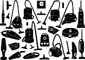 Black icons of vacuum cleaners on white background